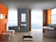 White- gray- orange bathroom