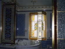 Stained glass partitions in the bathroom