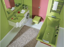 Bathroom - lime and brown- pink