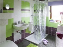 Bathroom - green, white and purple