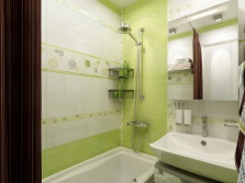 Beautiful light green bathroom