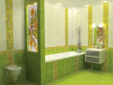 Light green bathroom in oriental style