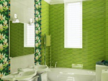 Light green with a green bathroom