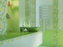 Light green bathroom furniture
