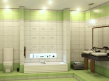 Beige and light green bathroom