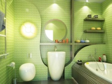 Light green tiles in the bathroom