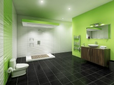 Light green with a dark bathroom furniture