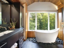 The design of the bathroom with a window