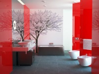 Bathroom in white and red