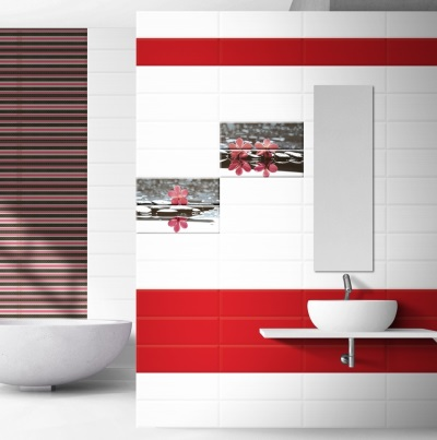 White and red bathroom with a black