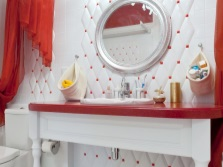Red countertop in the bathroom