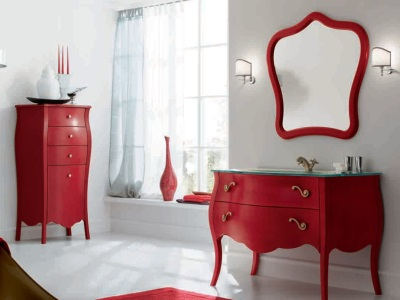 Red furniture in white bathroom