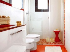 Red white floor in the bathroom