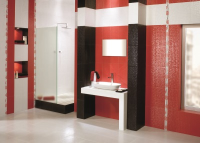 Black white and red bathroom