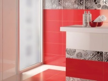 White and red bathroom with silver tiles