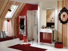 White and maroon bathroom