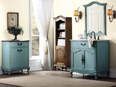 Turquoise bathroom furniture in the style of Provence