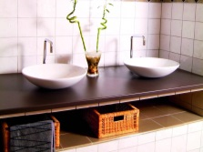 The sink in the bathroom in the style of Provence
