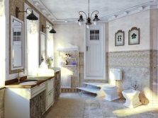 Forged beautiful chandelier in the bathroom in the style of Provence