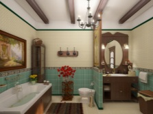Bathroom design in country style in a contrasting combination