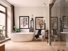 The beautiful and harmonious bathroom design in the style of fusion