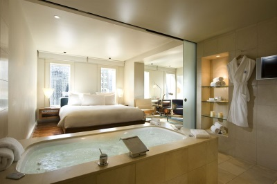Beautiful bathroom with a bed