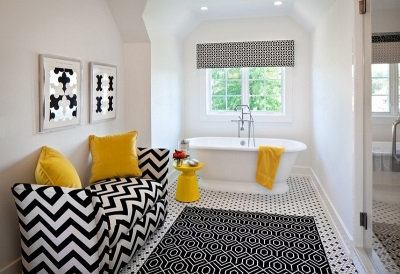 Bathroom design in black and white with yellow accents
