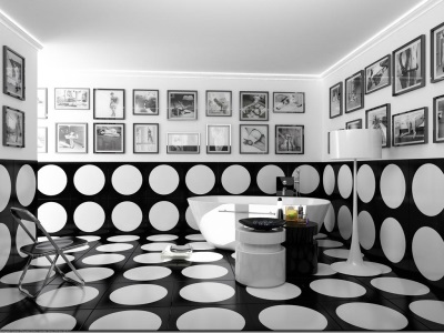Interior black and white bathroom