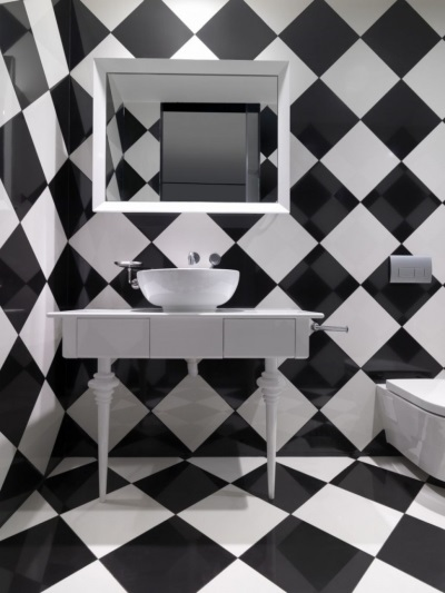 Black tiles in a checkerboard pattern
