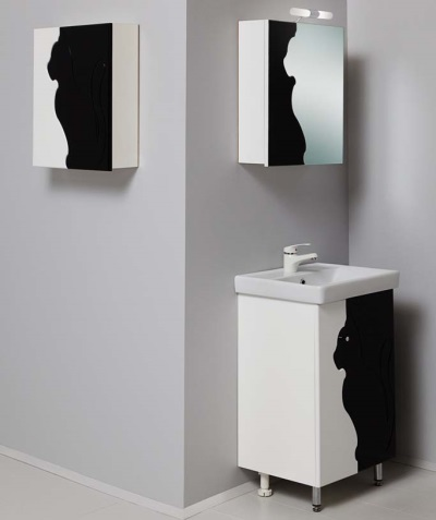 Black with white furniture design in bathroom