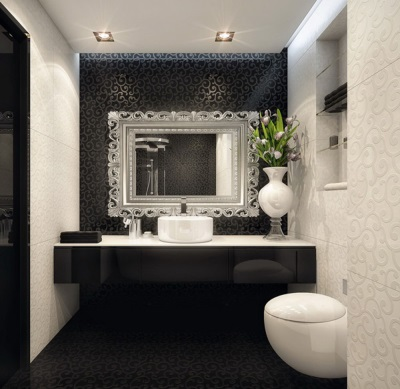Interior decorations in black and white bathroom