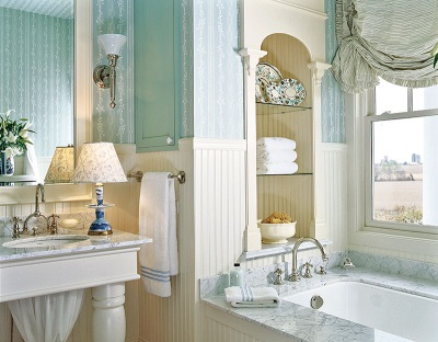 Classical bathroom with blue thread