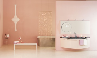 Pale pink and white in the design of the bathroom