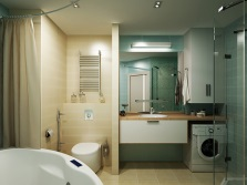 Bathroom with a partition