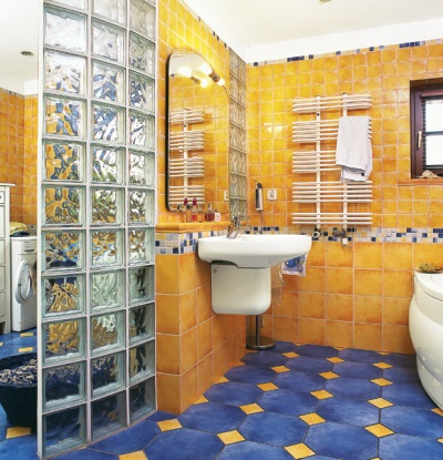 Ceramic and glass tiles in the design of the bathroom