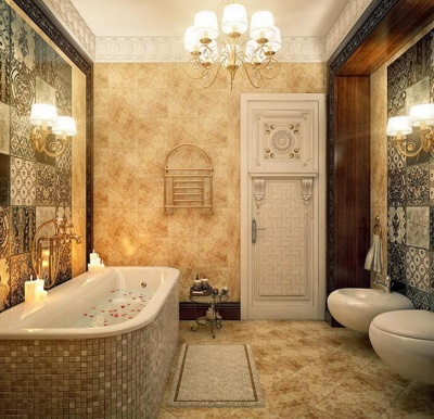Bathroom in classical style in a wooden house