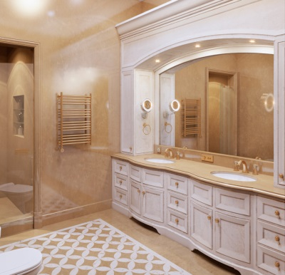 Bright bathroom in a classic style in a wooden house