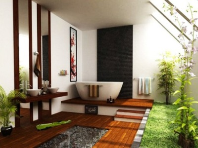 The tree in the design of the bathroom