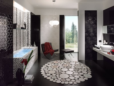 The black color in the design of the bathroom