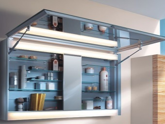 Hanging cupboard for storage of cosmetics