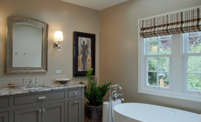 Beige small bathroom