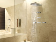 Beige bathroom with shower