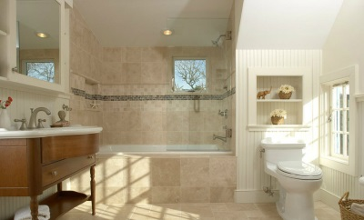 Beige with white bathroom