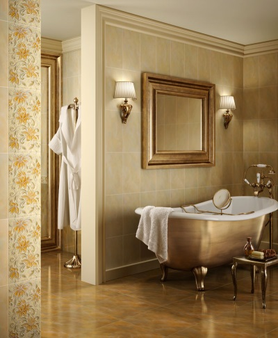 Beige with dark bathroom