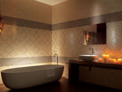 Beige and brown bathroom