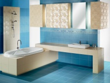 Bathroom beige blue