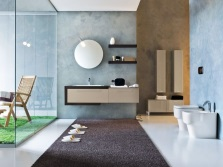Blue - beige bathroom