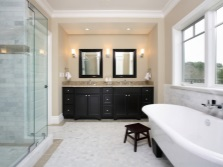 Beige and black bathroom