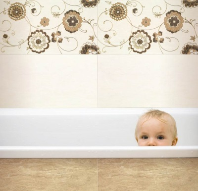 Beige bathroom and baby