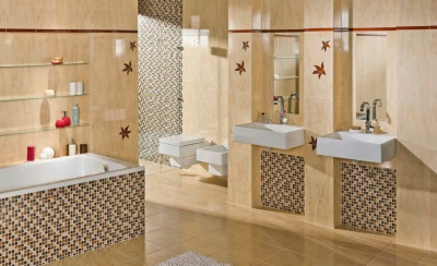 Beige bathroom with white sanitary ware